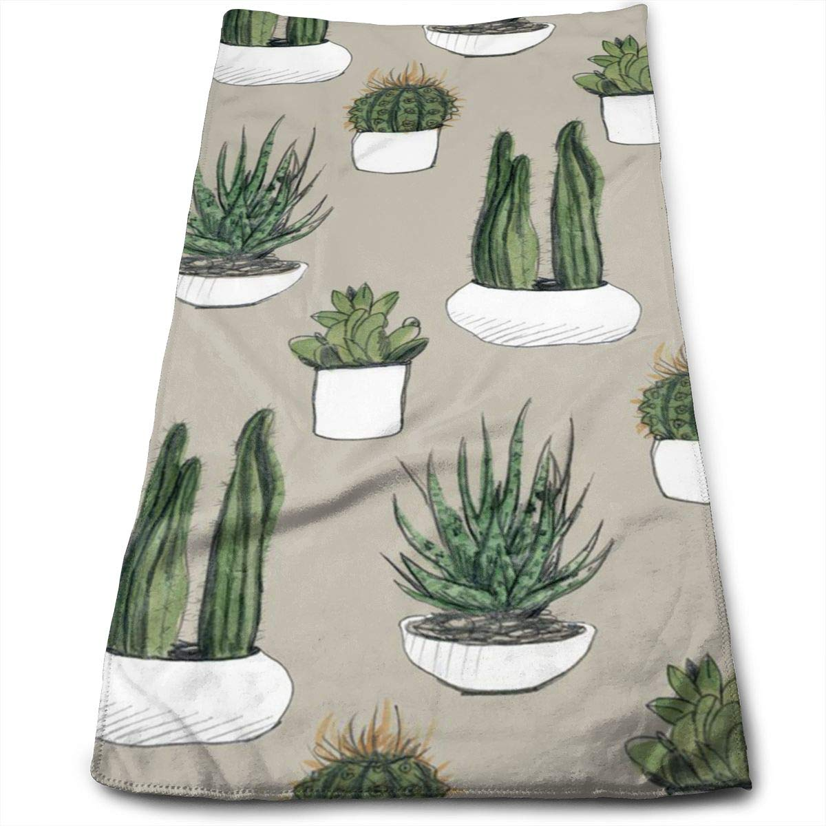 QiFfan22 Cotton Watercolor Cacti Succulents Dish Towels,Oversized Kitchen Towels for Drying,Cleaning,Cooking,Baking (12 X 27.5 Inch)