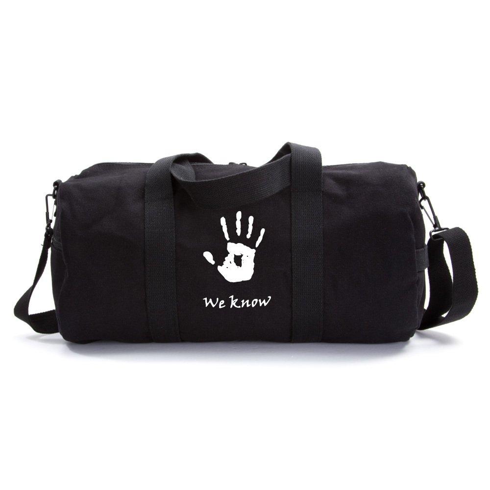 Skyrim We Know Army Sport Heavyweight Canvas Duffel Bag in Black & , Large
