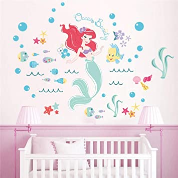 Bdhnmx Cartoon Mermaid Ariel Princess Fish Bubble Wall Sticker Girls Room Bathroom Home Decoration Anime Mural