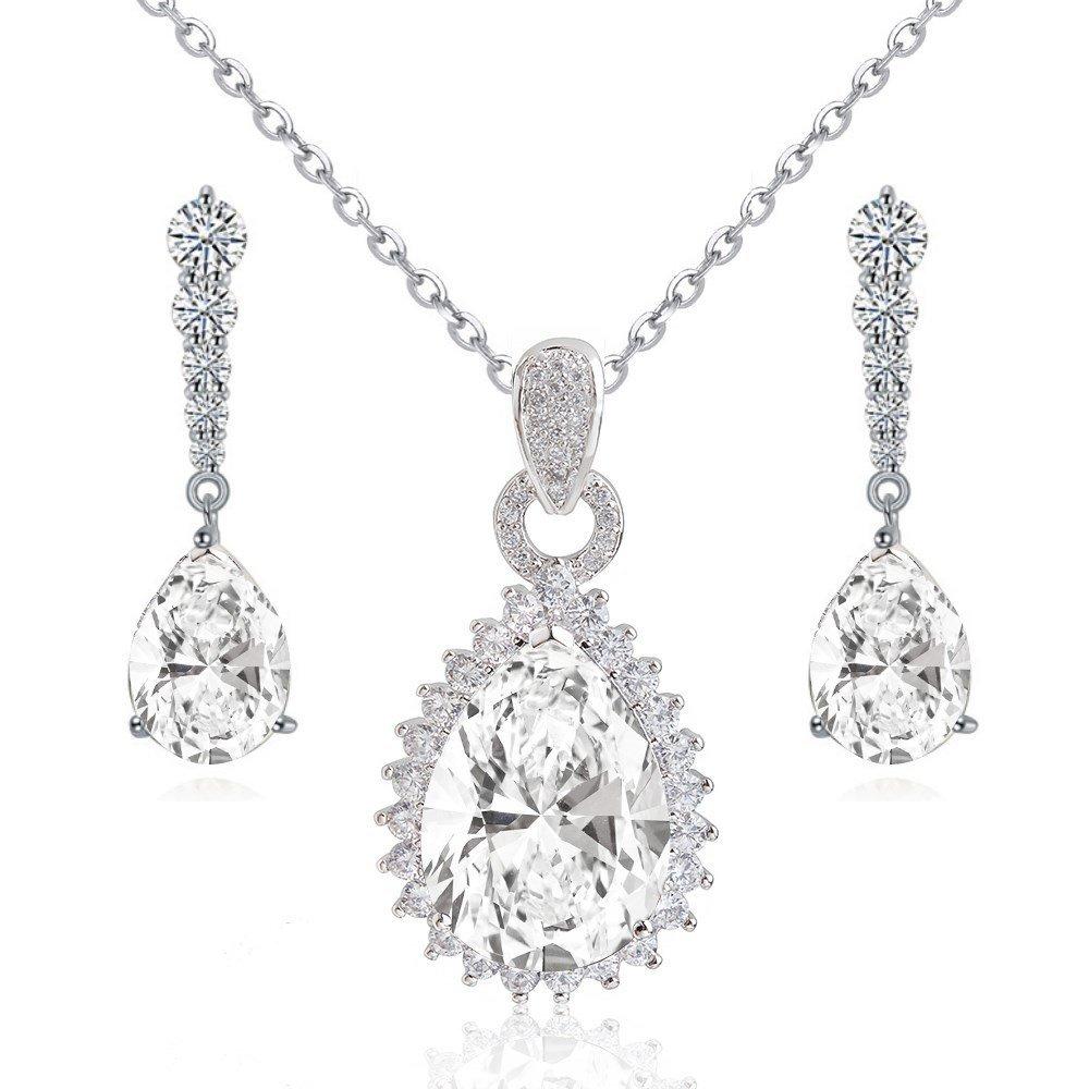Lacrima Bianco Cristalli austriaci di zirconi Nozze Purare Collana con ciondolo 45 cm Orecchini pendenti18 kt placcato oro bianco