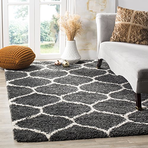 Safavieh Hudson Shag Collection SGH280G Dark Grey and Ivory Moroccan Ogee Plush Area Rug (3' x 5') (Area 3x5 Rug Grey)