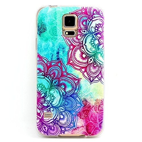 Samsung Galaxy S5 , BAISRKE Clear TPU Silicone Gel Back Cover Skin Soft Case for Samsung Galaxy S5 i9600 (Not for S5 Mini) Mint and Purple Two Big Flower Style