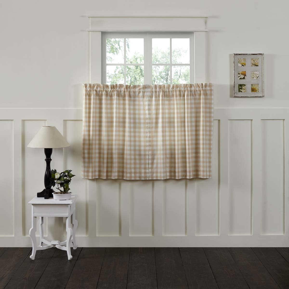 Grey L24 x W36 VHC Brands Farmhouse Kitchen Window Curtains-Annie Buffalo Check White Lined Tier Pair