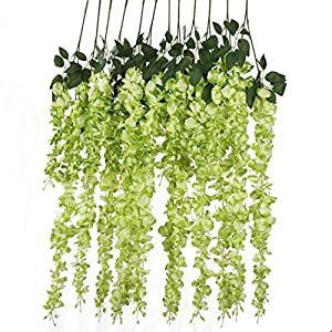 Luyue 3.18 Feet Artificial Silk Wisteria Vine Ratta Silk Hanging Flower Wedding Decor,6 Pieces,(Green) 42