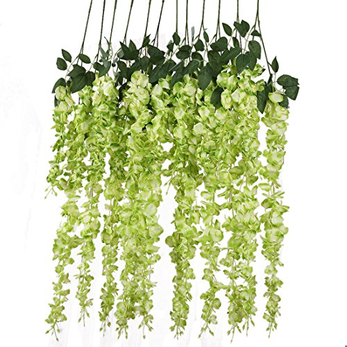 Luyue 3.18 Feet Artificial Silk Wisteria Vine Ratta Silk Hanging Flower Wedding Decor,6 Pieces,( ...