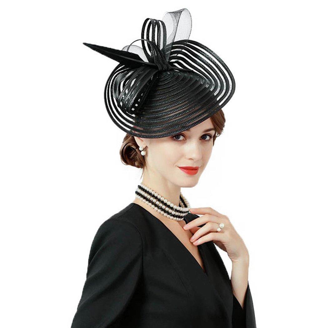 Krastal Womens Fascinators Elegant Feather Mesh Gauze Wide Brim Pillbox Hat Headband