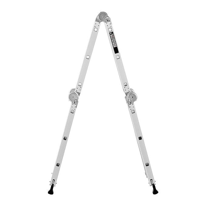 MSW Mehrzweckleiter Alu Leiter Gelenkleiter Stehleiter Arbeitsb/ühne MSW-AVL12 max. H/öhe 3,5 m, max. 150 kg, faltbar, 3-in-1 Funktionalit/ät