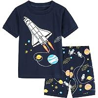 iiniim Kids Boys Toddler 100% Cotton Pajamas Set Short Sleeve Tops with Space Print Shorts Snug Fit Pjs Summer Sleepwear