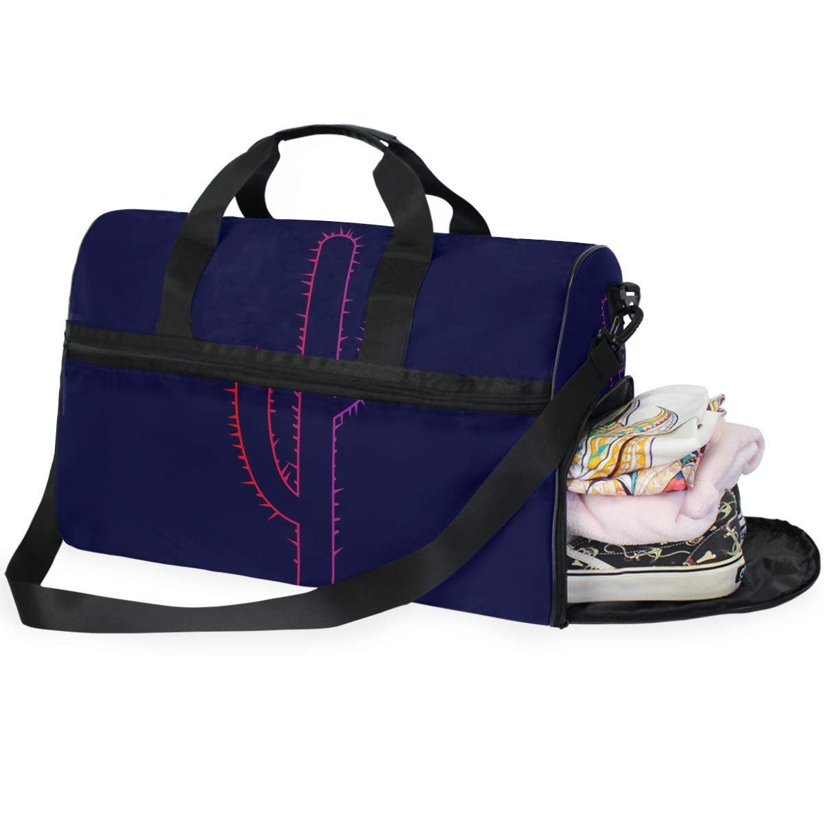 Purple Background Cactus Flash Large Travel Duffel Bag For Women Men Overnight Weekend Lightweight Luggage Bag