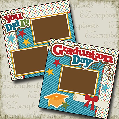 Graduation Scrapbook Layouts (GRADUATION DAY - Premade Scrapbook Pages - EZ Layout 2228)
