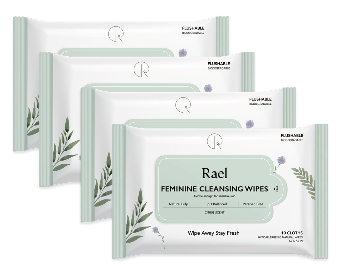 Rael Feminine Wipes with natural ingredients, use day or night, flushable, pH-balanced, gentle and safe on the skin. (4 Packs)