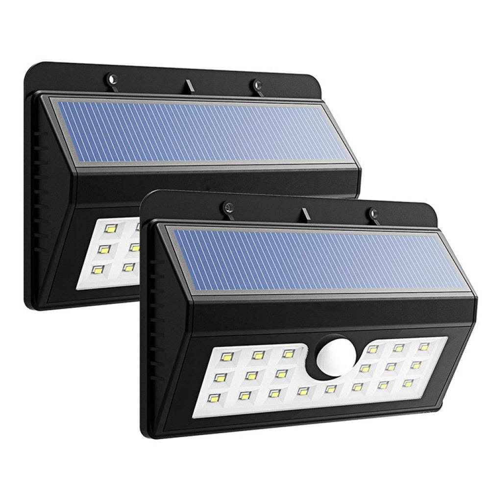 MOMO 3 kinds of light control mode LED solar wall outdoor solar sensor light,black,One size