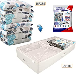 New Storage Space Bag / Luxurious Storage Box Tote with Reusable Vacuum Space Saver Bags. Organizing System that Protects Your Comforters, Clothing, Bedding, & More! (3Pcs Set) (Beige - Under the Bed)