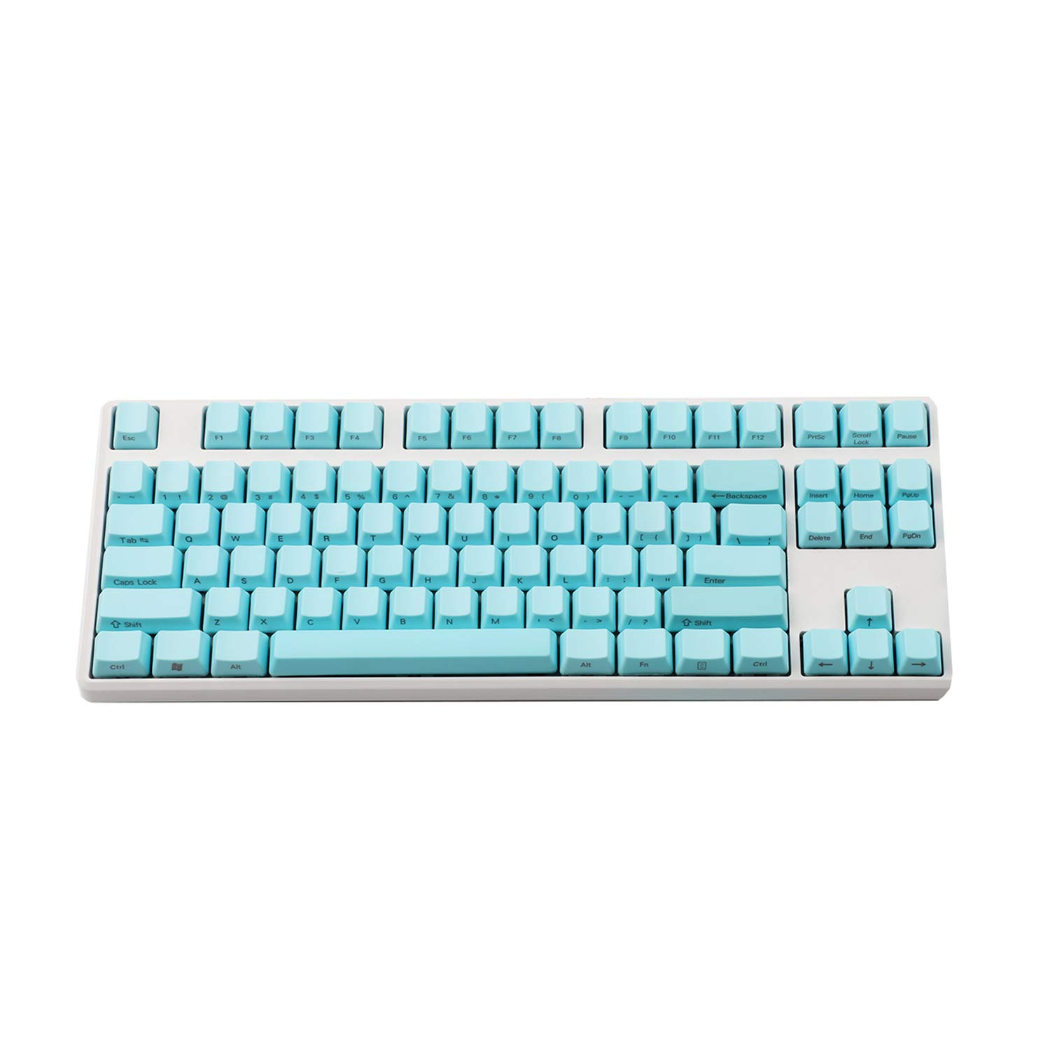 Side-Printed Thick PBT OEM Profile 87 ANSI Keycaps for MX Switches Mechanical Keyboard (White) WPL ymd-key-s87