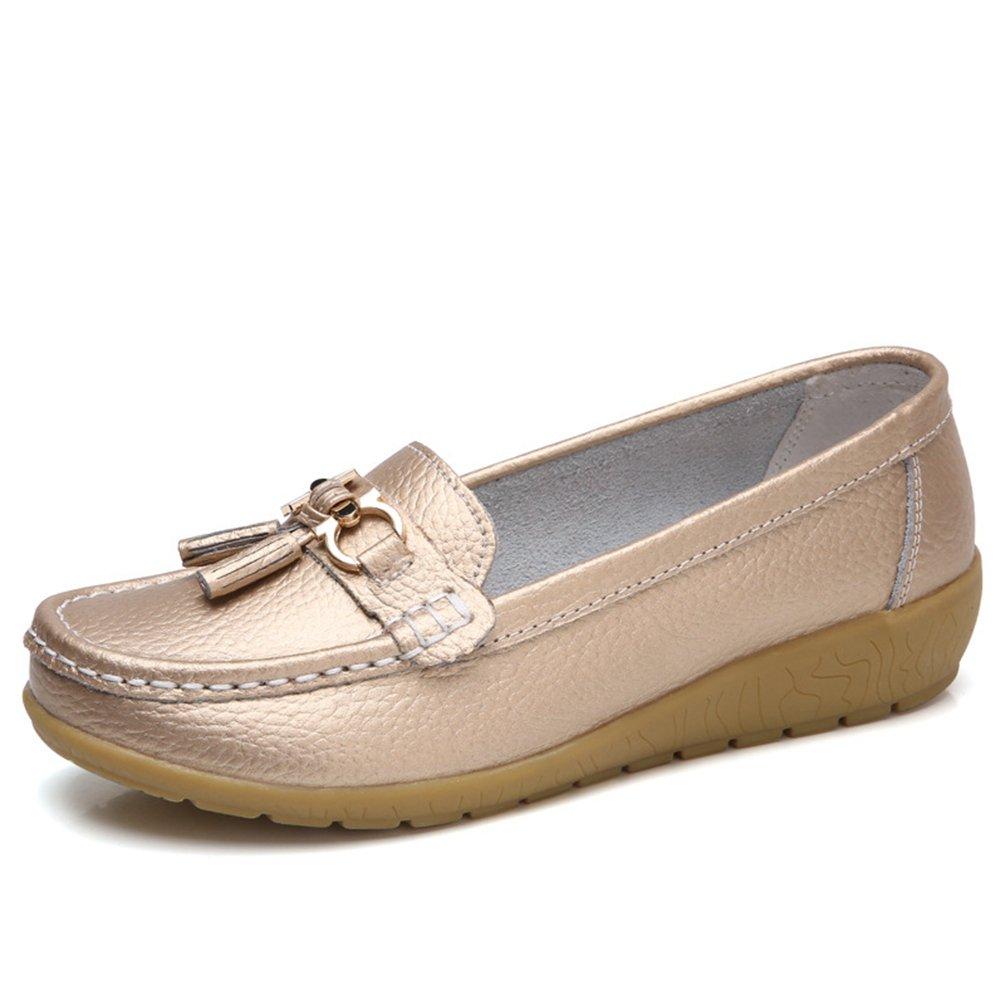JRenok Chaussures de Plates Printemps Boucle Femme Mocassins en Cuir en Souple Casual Boucle Confort Chaussures Plates Loafers Antidérapante 35-41 golden 56d880a - robotanarchy.space