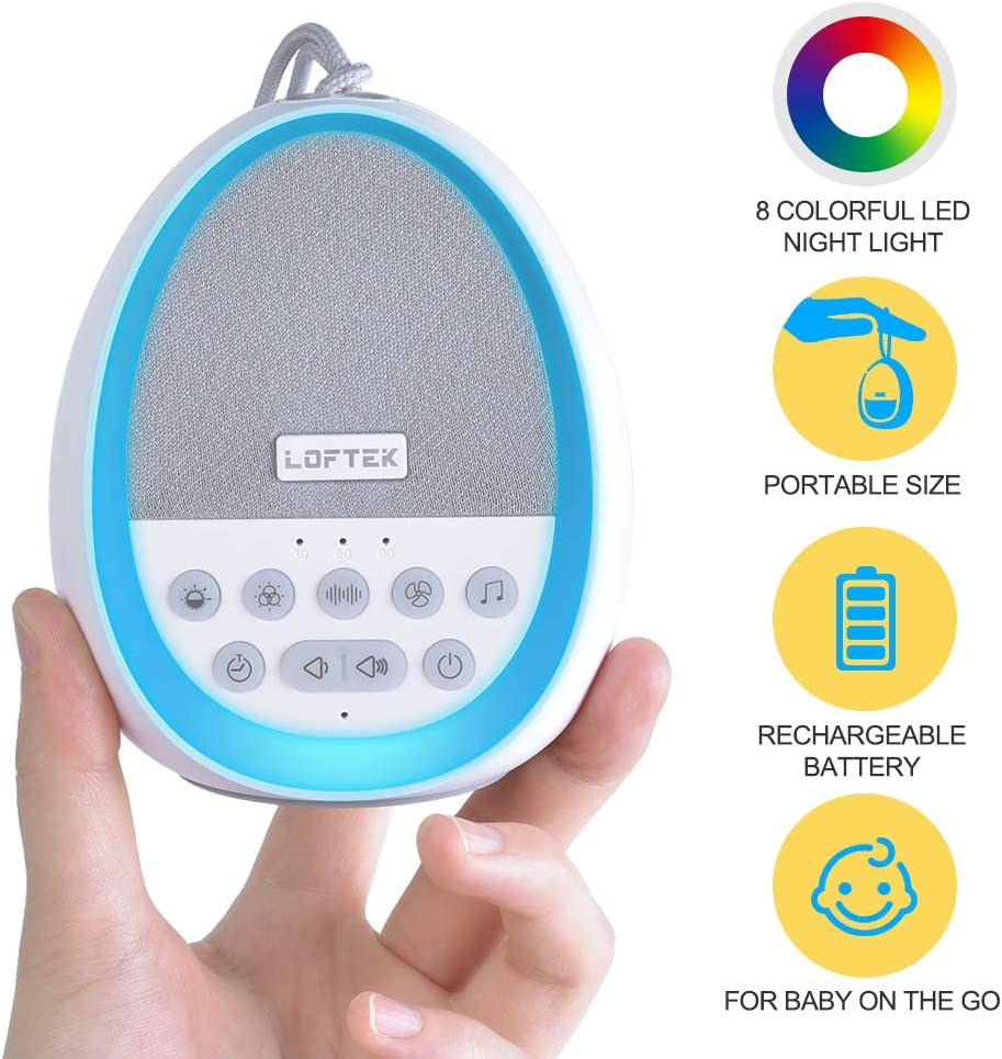 LOFTEK White Noise Machine, Baby Night Light With 8 Colors, Portable Rechargeable Baby Noise Machines For Sleeping, 29 Non-Looping Soothing Nature Sounds Sleep Machine Sound Soother Therapy for Travel