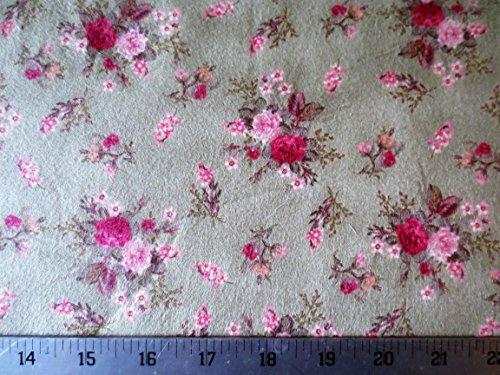Northcott Fabric Flannel (Rose Petal Cottage Flannel Green Floral Northcott Cotton Fabric F2119-66)
