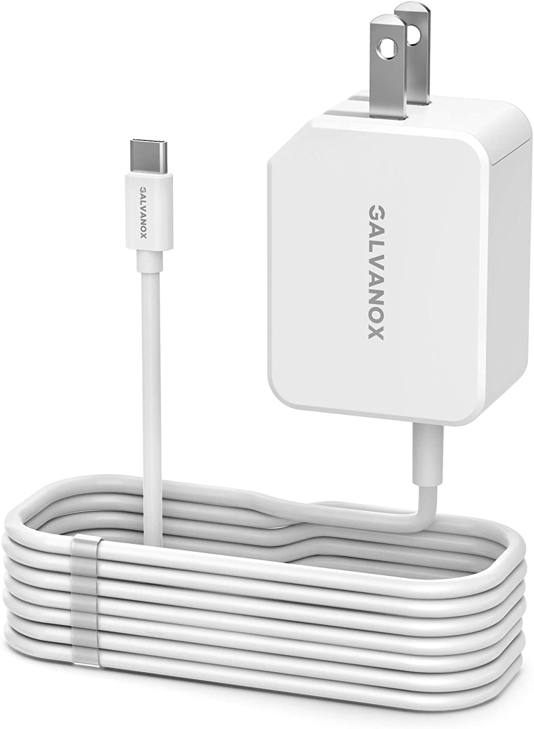 Galvanox Rapid Charger for All Google Pixel Models | Wall Plug Travel Adapter with Folding Prongs | Built in USB-C Cable for Pixel 2,3,3a,4,4XL/4a (PD 18W Output)