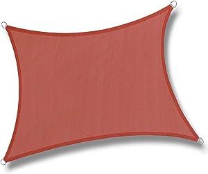 LOVE STORY 10' x 13' Rectangle Terra Red Sun Shade Sail Canopy UV Block Awning for Outdoor Patio Garden Backyard