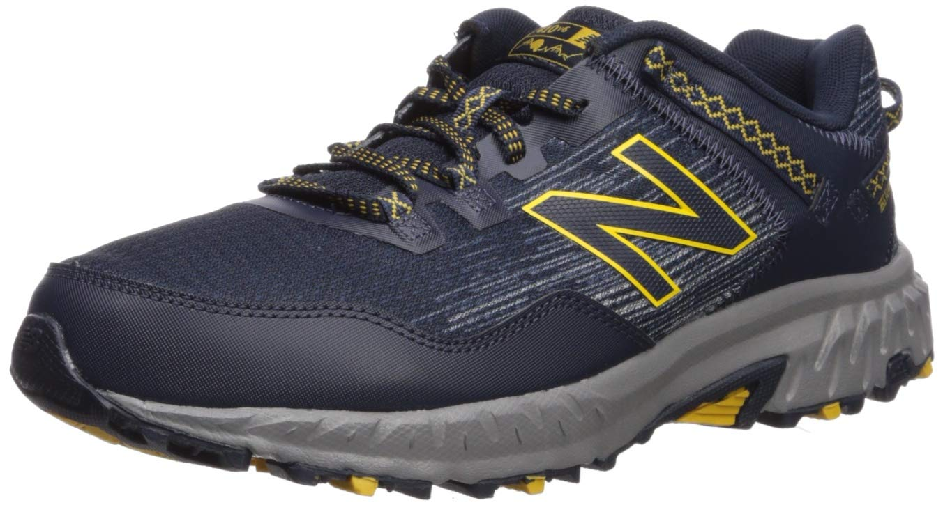 New Balance Men's 410v6 Cushioning Trail Running Shoe, Eclipse/Vintage Indigo/Sunflower, 10.5 D US by New Balance