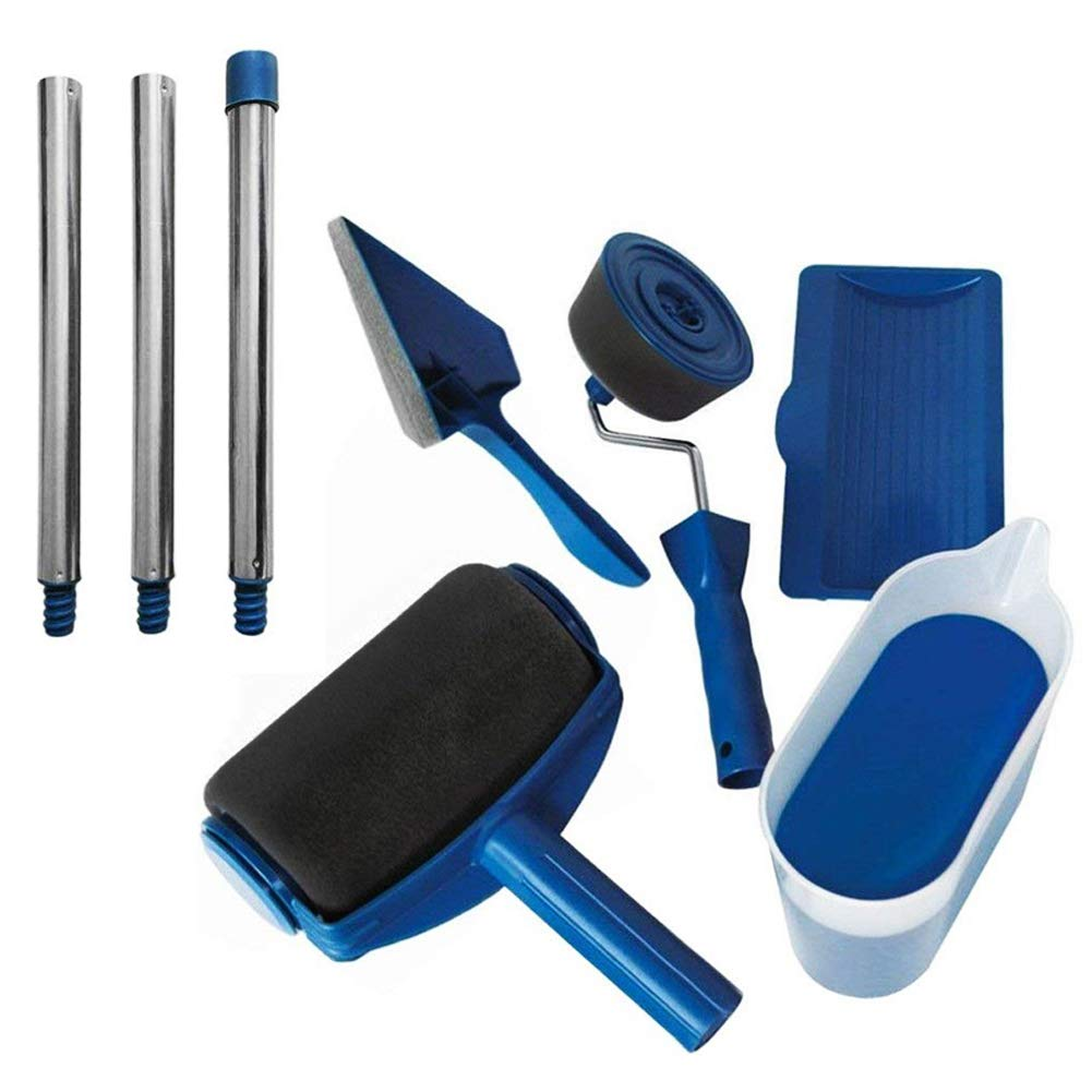 Paint Roller Set Kit Roller Paint Brush Handle Tool Wall Printing Brush with 3 Extension Handle Paint Runner Pro Brush (8pcs)