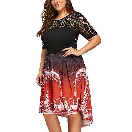 Donna Vestito, Reasoncool Il merletto che cucita irregolare i grandi velieri vestito di natale, pann...