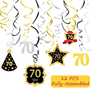 70 Birthday Decoration Ceiling Hanging Swirls, Happy 70th Birthday Party Silver Black Gold Foil Swirl Streamers, Birthday Party Supplies
