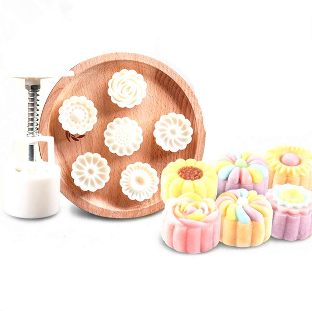 Hewnda Moon Cake Mold 6 Stamps - Mid Autumn Festival DIY Decoration Press 50g White (Bumps)