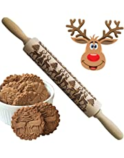 Christmas 3D Wooden Rolling Pins for Baking, Engraved Embossing Rolling Pin for Cookies - Waffles Pastry Dough Pie with Deer Tree Pattern Xmas New Year Creative Gift