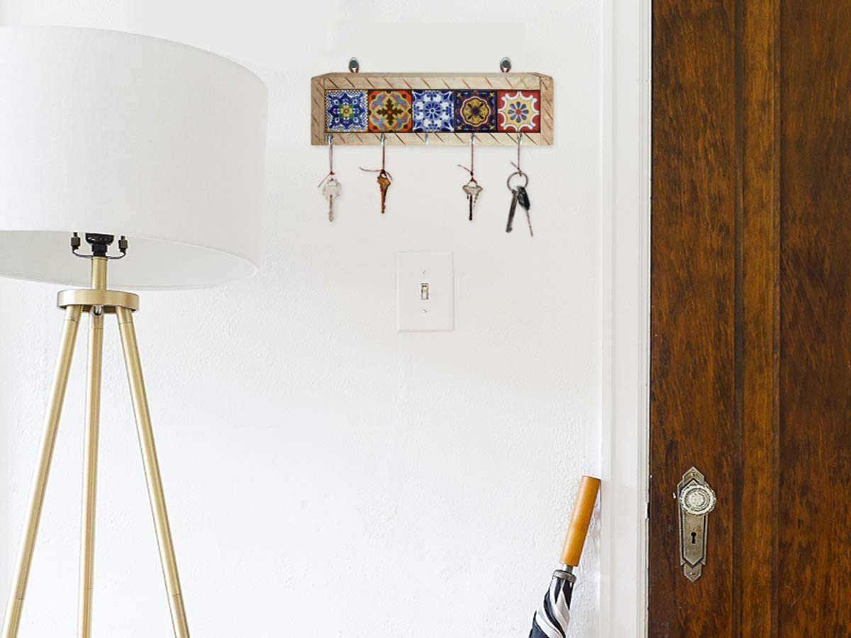 Mexican Fiesta Designs Mexican Key Holder with Metal Hooks and Colorful Talavera Tiles Portallaves de Casa Multi 5 Azulejos Talavera Wall Art Mexican Home Decor 5 Different Mexican Styles