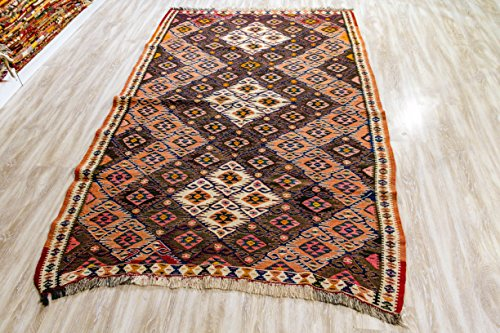 Madder semi Antique Rug, Vintage Kilim Rug 4.69x7.25 ft (143x221 cm)