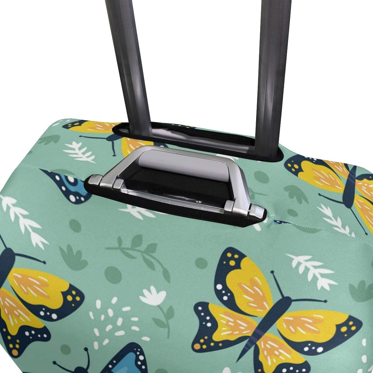Travel Luggage Cover Yellow Blue Butterflies Green Background Suitcase Protector