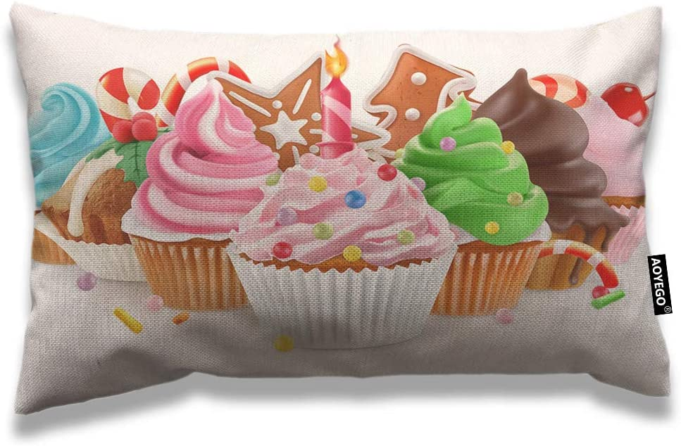AOYEGO Cupcake Throw Pillow Cover 12x20 Inch Sweet Food Dessert Birthday Chocolate Cherry Cream Rectangle Pillow Cases Home Decorative Cotton Linen Cushion Cover for Bed Sofa