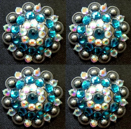 - Challenger Tack Lot of 4 Conchos Concho Rhinestone Horse Saddle Western Berry Turquoise CO69