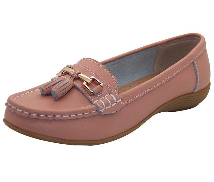 Jo & Joe Zapatos planos para mujer de piel con borlas, de estilo mocasín y marinero, color Beige, talla 42