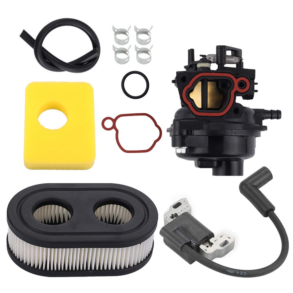 Fuel Li 799584 Carburetor + 799579 Air Filter 593872 Ignition Coil Kit for Briggs and Stratton 09P702 Engine Replace 593260 798452 799582 by Fuel Li