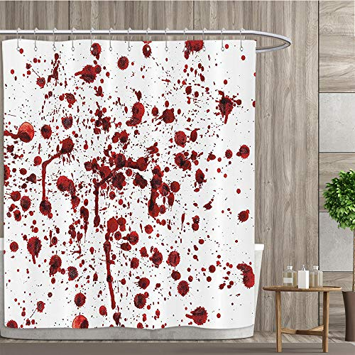 luvolux Horror Stall Shower Curtain Splashes of Blood Grunge Style Bloodstain Horror Scary Zombie Halloween Themed Print Fabric Bathroom Decor Set with Hooks,72W x 84L Inches, Multicolor -