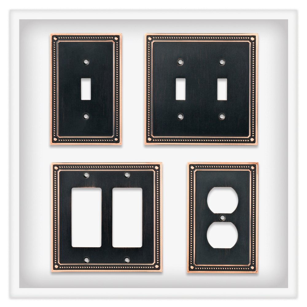 Franklin Brass W35064-VBC-C Classic Beaded Double Duplex Outlet Wall Plate / Switch Plate / Cover, Bronze with Copper Highlights by Franklin Brass (Image #4)