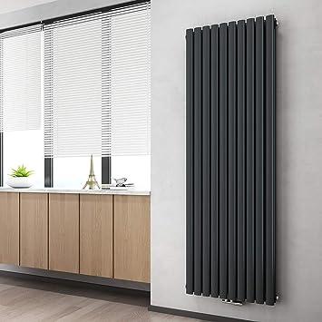 WELMAX Design Paneelheizkörper 10 x 10 mm Doppellagig Anthrazit Oval  Röhren Heizkörper Mittelanschluss Vertikal Wohnzimmer/Badezimmer Heizkörper