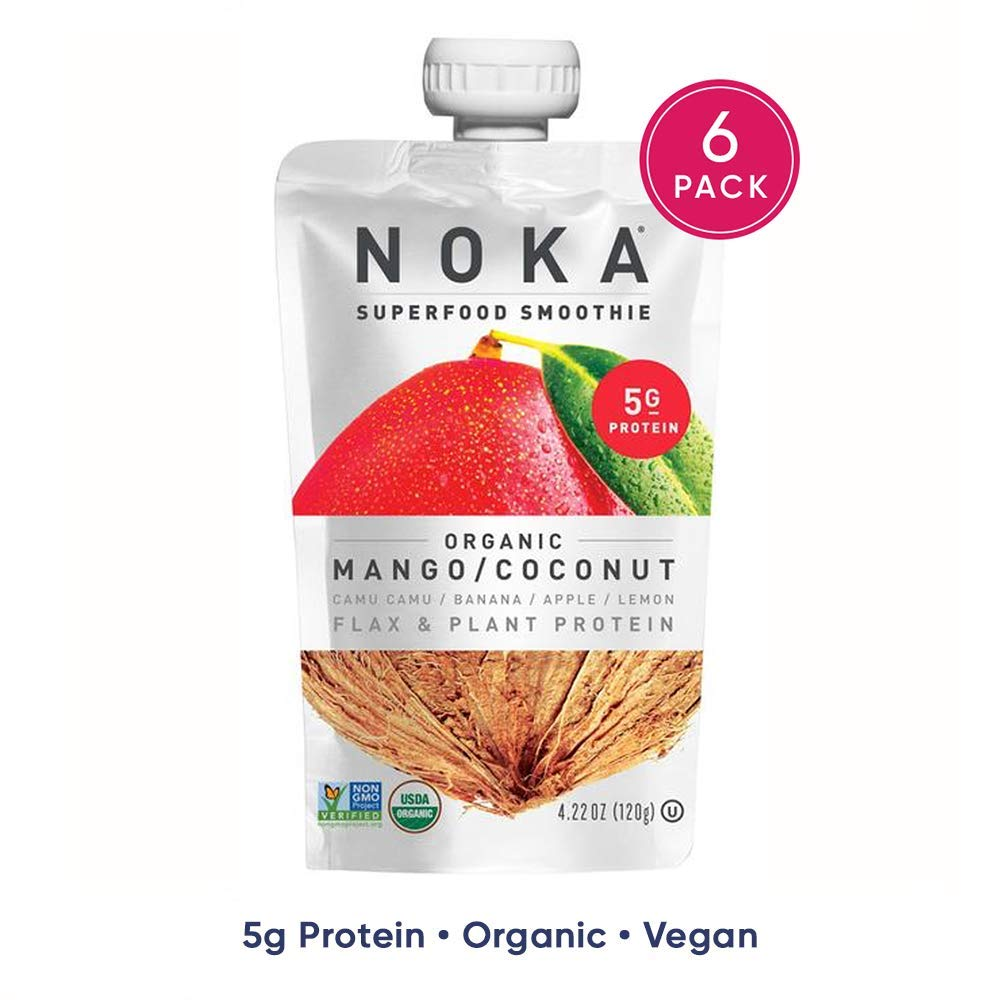 NOKA Superfood Pouches (Mango Coconut) 6 Pack   100% Organic Fruit And Veggie Smoothie Squeeze Packs   Non GMO, Gluten Free, Vegan, 5g Plant Protein   4.2oz Each