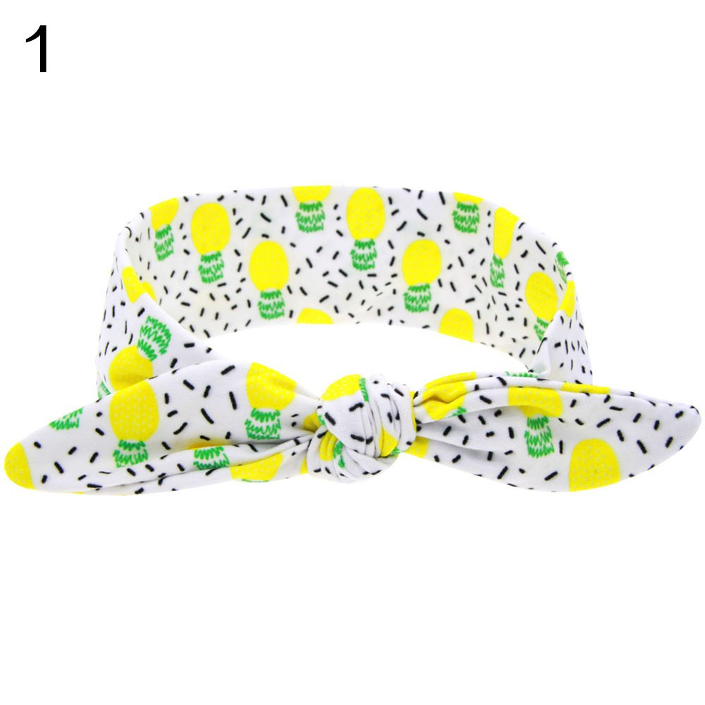 qingsb Headband Hair Bands Elastic Papaya Strawberry Kiwi Fruits Pattern Print Bowknot Head band Girls Accessories Lemon #