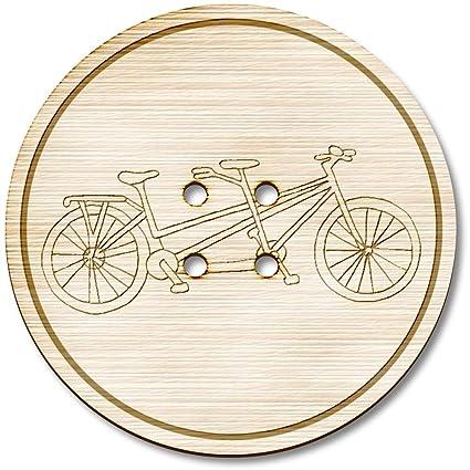 Azeeda 3 x 38mm Bicicleta Tandem Grande Redondo De Madera Botón ...