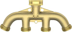 glorden 4 Way Heavy Duty Brass Hose Splitter Hose Manifold Garden Hose Connectors(Give Away 7 Small Accessories)