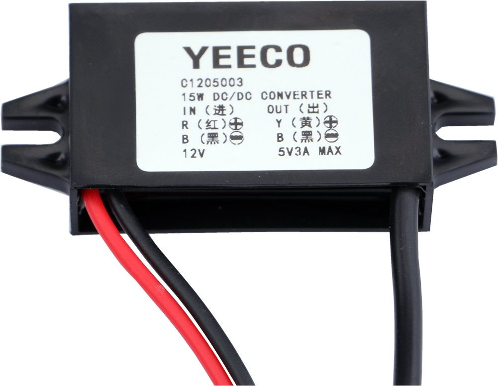 Yeeco DC to DC Buck Converter 8-22V to 5V 3A//15W Power Adapter 12V to 5V MICRO USB Cable Connector Car Charger Power Supply Voltage Regulator