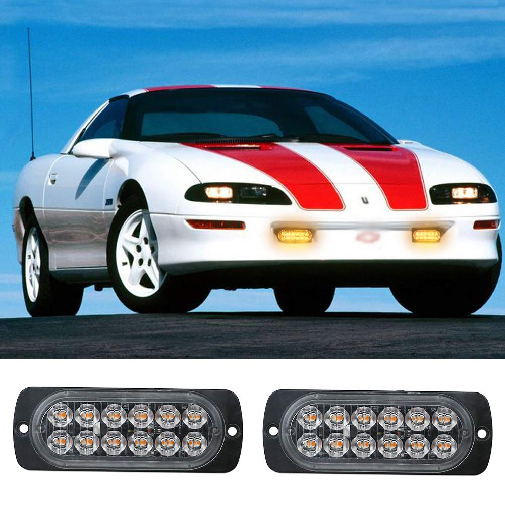 Ralbay 2Pcs Universal 4-LED Amber 19-Flashing Mode Car Truck Warning Caution Emergency Construction Strobe Light Bar