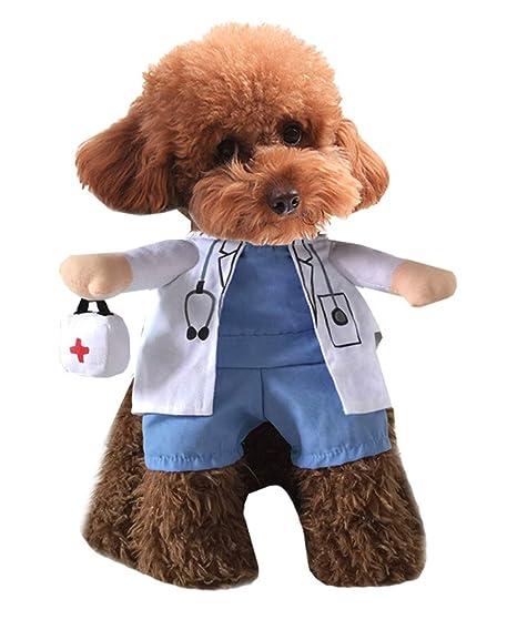 Xiaoyu Cachorro Perro Gato Disfraz de Halloween, Disfraz Estilo médico, médico Abrigo Caja de
