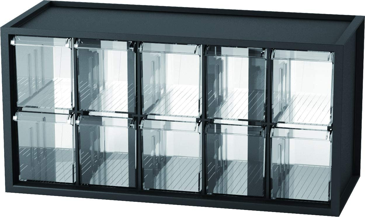 livinbox 10 Drawer Plastic Parts Storage Hardware and Craft Cabinet, Desktop Hardware Storage Organizer Multi Use Compartment Container– Black, A9-510, 14.9 x 6.1 x 7.4 Inch
