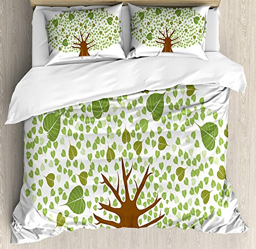 Bodhi Four Light - Tree 4 Piece Bedding Duvet Cover Sets for Kids/Adults/Teens/Children - King Luxury Soft Lightweight Brushed Microfiber, Sacred Fig Bodhi Tree Illustration Full of Leaves Spiritual Enlightenment