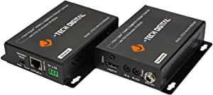 J-Tech Digital HDBaseT HDMI Extender 4K Ultra HD Extender for HDMI 2.0 Over Single Cable CAT5e/6A up to 230ft (1080P) 130ft(4K) Supports HDCP 2.2/1.4, RS232, Bi-Directional IR and PoE