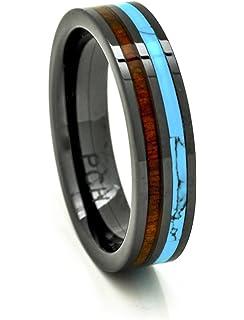 Amazoncom PCH Jewelers Titanium Ring Turquoise Hawaiian Koa Wood